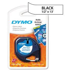 "DYMO LetraTag - 91331 Plastic Label Tape, 1/2"", White"