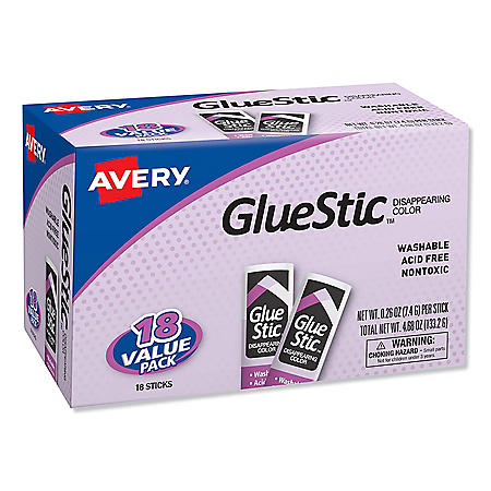 Avery Permanent Glue Stic Value Pack, 0.26 oz, Applies Purple, Dries Clear, 18/Pack