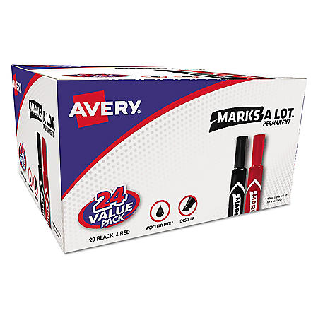 Avery MARKS A LOT Regular Desk-Style Permanent Marker Value Pack, Broad Chisel Tip, Assorted Colors, 24/Pack