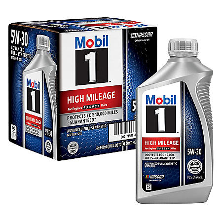 Mobil 1 5W-30 High Mileage Advanced Full Synthetic Motor Oil (6 pack, 1-quart bottles)