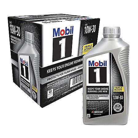 Mobil 1 10W-30 Motor Oil (6-pack, 1 quart bottles)