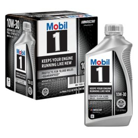 Mobil 1 10W-30 Motor Oil (6-pack, 1 quart bottles)