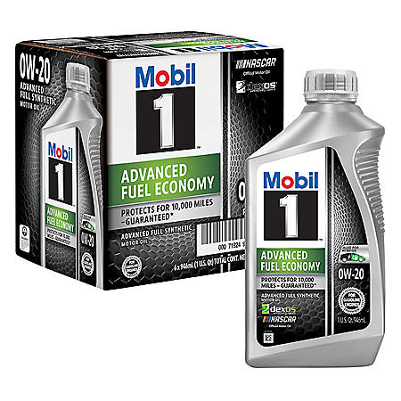 Mobil 1 0W-20 Advanced Fuel Economy Motor Oil (6 pack, 1-quart bottles)