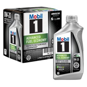 Mobil 1 0W-20 Advanced Fuel Economy Motor Oil (6-pack/1 quart bottles)