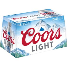 Coors Light American Light Lager Beer (16 fl. oz. aluminum bottle, 15 pk.)