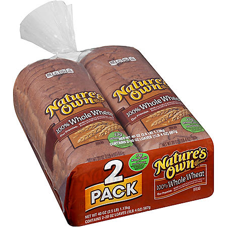 Nature's Own 100% Whole Wheat Bread (20oz / 2pk)
