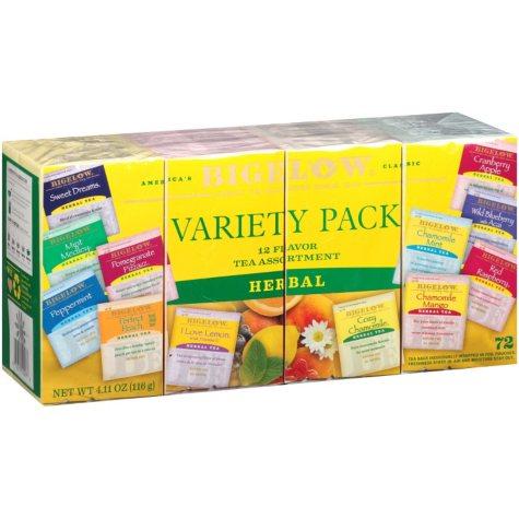 Bigelow 12 Flavor Tea Assortment Variety Pack (72 ct., 4.53 oz.)