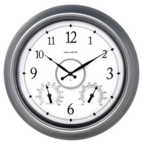 """AcuRite 18"""" Pewter LED Illuminated Outdoor Wall Clock with Thermometer and Hygrometer"""