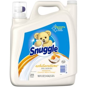 Snuggle Exhilarations Liquid Fabric Softener, Spa Series Coconut Milk and Honey (180 fl. oz., 211 loads)
