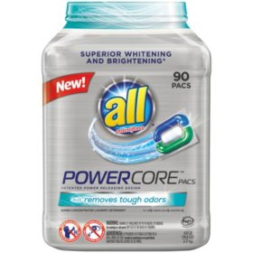 ALL PowerCore Pacs Plus Removes Tough Odors (90 Loads)