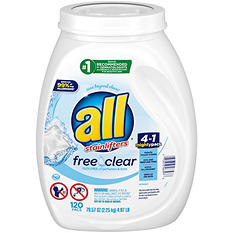 all Mighty Pacs Free & Clear Laundry Detergent (120 ct.)