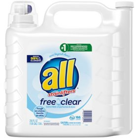 all 2X Ultra with Stainlifter Free & Clear (166 loads, 250 fl. oz.)