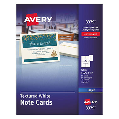 Avery - 3379 - Note Cards, Textured, Inkjet, White - 50 Cards