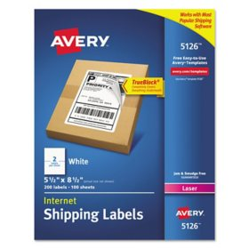 Avery Shipping Labels w/ TrueBlock Technology, Laser Printers, 5.5 x 8.5, White, 2/Sheet, 100 Sheets/Box