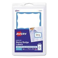 Avery Printable Adhesive Name Badges, 3.38 x 2.33, White, 100/Pack