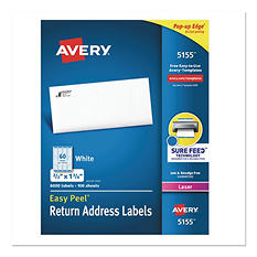 "Avery Easy Peel White Address Labels - 2/3""x 1 3/4"" - White - 6,000 pk."