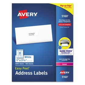 Avery 5160 Easy Peel Address Labels, Laser, 1 x 2 5/8, White, 3,000 Labels