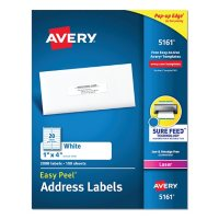 Avery Easy Peel White Address Labels w/ Sure Feed Technology, Laser Printers, 1 x 4, White, 20/Sheet, 100 Sheets/Box