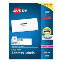 Avery Easy Peel White Address Labels w/ Sure Feed Technology, Laser Printers, 1.33 x 4, White, 14/Sheet, 100 Sheets/Box