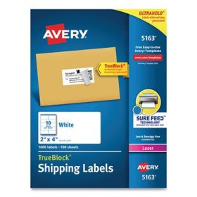 Avery Shipping Labels w/ TrueBlock Technology, Laser Printers, 2 x 4, White, 10/Sheet, 100 Sheets/Box