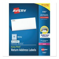 Avery Easy Peel White Address Labels w/ Sure Feed Technology, Laser Printers, 0.5 x 1.75, White, 80/Sheet, 100 Sheets/Box
