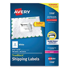 Avery Shipping Labels with TrueBlock Technology, 3-1/2 x 5, White, 400 per Box