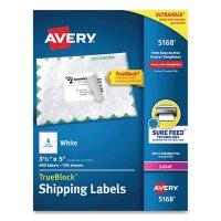 Avery Shipping Labels w/ TrueBlock Technology, Laser Printers, 3.5 x 5, White, 4/Sheet, 100 Sheets/Box