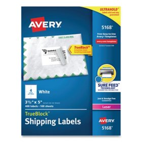 Avery Shipping Labels w/ TrueBlock Technology, Laser Printers, 3.5 x 5, White, 4/Sheet, 100 Sheets/Box