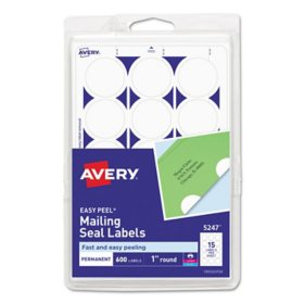 """Avery Printable Mailing Seals, 1"""" dia., White, 600/Pack"""