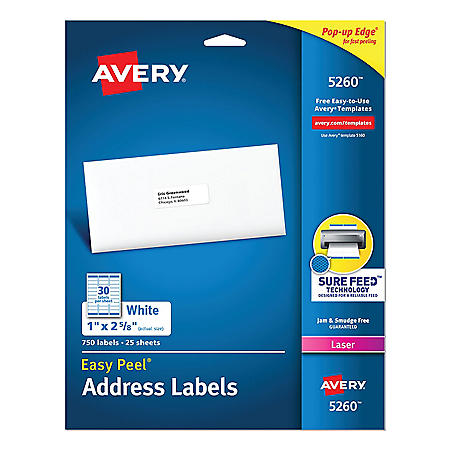 Avery Easy Peel White Address Labels w/ Sure Feed Technology, Laser Printers, 1 x 2.63, White, 30/Sheet, 25 Sheets/Pack