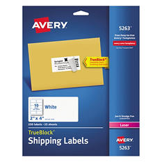 Avery TrueBlock Shipping Labels, Laser, 2 x 4, White, Select Quantity