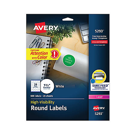 """Avery Permanent Laser Print-to-the-Edge ID Labels w/SureFeed, 1 2/3""""dia, White, 600/PK"""