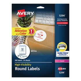 "Avery Permanent Laser Print-to-the-Edge ID Labels w/SureFeed, 2 1/2""dia, White, 300/PK"