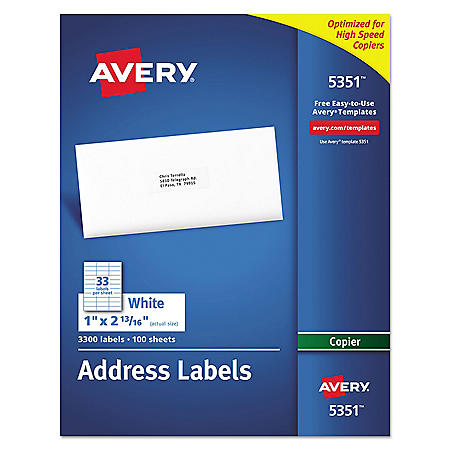 Avery Copier Mailing Labels, Copiers, 1 x 2.81, White, 33/Sheet, 100 Sheets/Box
