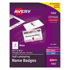 Avery Laminated Laser/Inkjet Name Badges