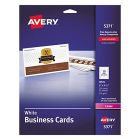 Avery Printable Microperf Business Cards, Laser, 2 x 3 1/2, White, Uncoated, 250/Pack