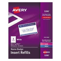 Avery Name Badge Insert Refills, Horizontal/Vertical, 2 1/4 x 3 1/2, White, 400/Box