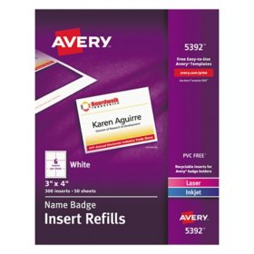 Avery Name Badge Insert Refills, Horizontal/Vertical, 3 x 4, White, 300/Box