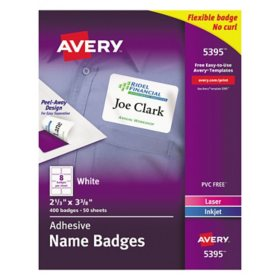 Avery Flexible Adhesive Name Badge Labels, 2 1/3 x 3 3/8, White, 400/BX