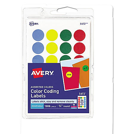 """Avery Printable Self-Adhesive Removable Color-Coding Labels, 0.75"""" dia., Assorted Colors, 24/Sheet, 42 Sheets/Pack"""