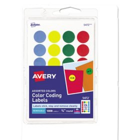 "Avery Printable Self-Adhesive Removable Color-Coding Labels, 0.75"" dia., Assorted Colors, 24/Sheet, 42 Sheets/Pack"