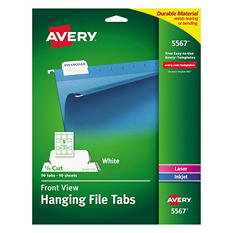 Avery 1/5 Tab Print Write-On Hanging File Tabs, White (90 ct.)