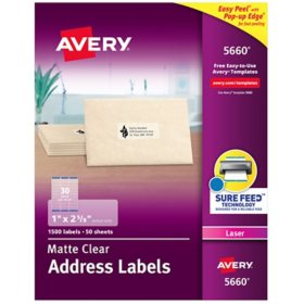 Avery Matte Clear Easy Peel Mailing Labels w/ Sure Feed Technology, Laser Printers, 1 x 2.63, Clear, 30/Sheet, 50 Sheets/Box