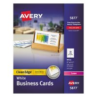 Avery Clean Edge Business Cards, Laser, 2 x 3 1/2, White, 400/Box