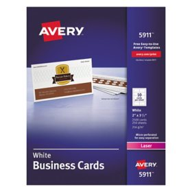 Avery Printable Microperforated Business Cards with Sure Feed Technology, Laser, 2 x 3.5, White, Uncoated, 2500/Box