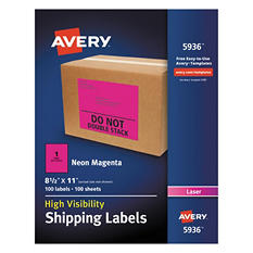 """Avery High-Visibility Shipping Label, Laser, 8.5"""" x 11"""", Neon Magenta, 100 ct."""