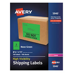 """Avery High-Visibility Shipping Label, Laser, 8.5"""" x 11"""", Neon Green, 100 ct."""