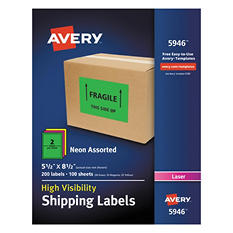 """Avery High-Visibility Shipping Label, Laser, 5.5"""" x 8.5"""", Assorted Neon Colors, 200 ct."""