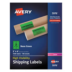 """Avery High-Visibility Shipping Label, Laser, 2"""" x 4"""", Neon Green, 1000 ct."""