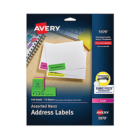 Avery High-Visibility Permanent Laser ID Labels, 1 x 2 5/8, Asst. Neon, 450/Pack